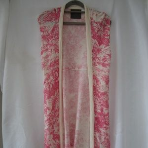 Anthro Guinevere S Toile Pink Summer Long Vest